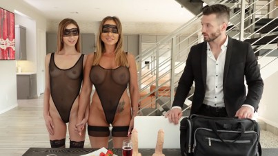Blindfold Fetish Upon Stepdaughter And Her Mommy